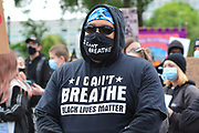 Protester makes point I can't breath during the Black Lives Matter protest at Queens Gardens, Hull, United Kingdom on 10 June 2020.