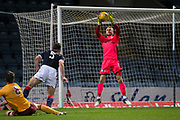Dundee goalkeeper Scott Bain saves from Motherwell's David Turnbull - Dundee under 20s v Motherwell in the SPFL development league at Dens Park, Dundee<br /> <br /> <br />  - &copy; David Young - www.davidyoungphoto.co.uk - email: davidyoungphoto@gmail.com