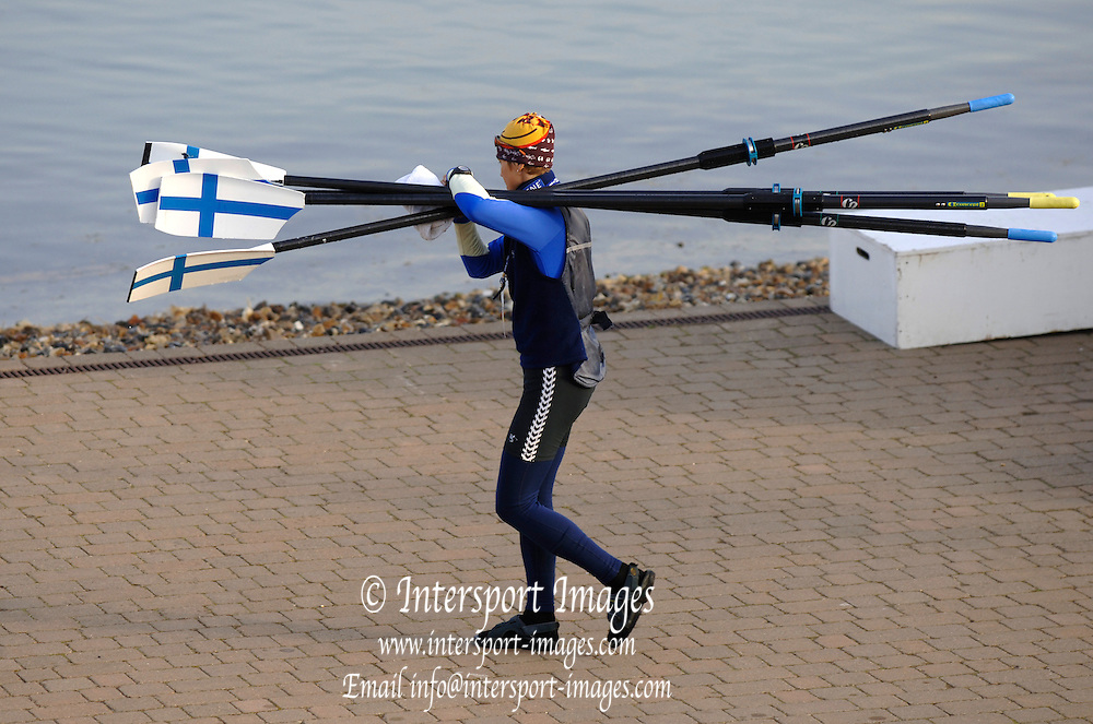 2005 FISA World Cup, Dorney Lake, Eton, ENGLAND, 27.05.05. GRE LM2X carries the sculls down to the boating dock..Photo  Peter Spurrier. .email images@intersport-images...[Mandatory Credit Peter Spurrier/ Intersport Images] , Rowing Courses, Dorney Lake, Eton. ENGLAND