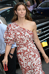 August 15, 2018 - New York, New York, U.S. - JESSICA BIEL vists 'The Late Show with Stephen Colbert' in New York City. (Credit Image: © Kristin Callahan/Ace Pictures via ZUMA Press)