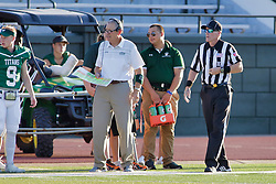 {BLOOMINGTON, IL: Norm Eash during a college football game between the IWU Titans  and the Wheaton Thunder on September 15 2018 at Wilder Field in Tucci Stadium in Bloomington, IL. (Photo by Alan Look)