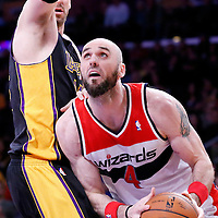 21 March 2014: Washington Wizards center Marcin Gortat (4) drives past Los Angeles Lakers center Pau Gasol (16) during the Washington Wizards 117-107 victory over the Los Angeles Lakers at the Staples Center, Los Angeles, California, USA.