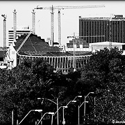 Looking north toward the Kauffman Center construction site on Sept. 29, 2010, standing on a hill near 31st & Wyandotte, KCMO.