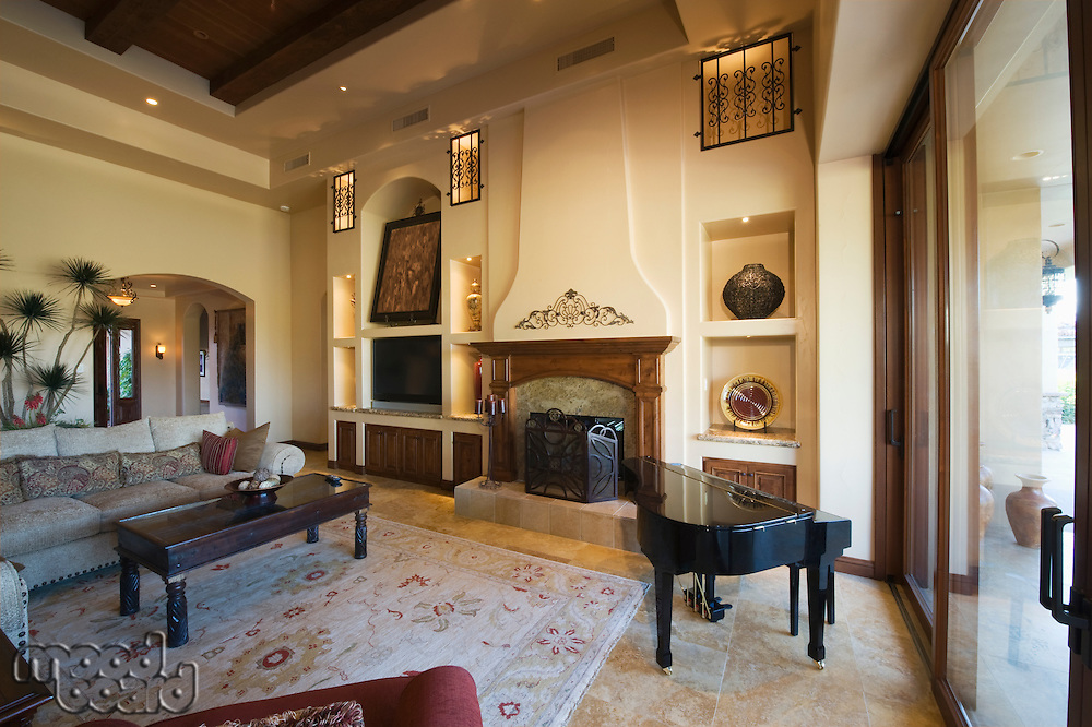 Living room with baby Grand Piano in Palm Springs home