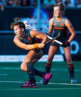 BREDA - Frederique Matla (Ned) met Xan de Waard (Ned)     tijdens Nederland-China bij de 4 Nations Trophy dames 2018 .   COPYRIGHT KOEN SUYK