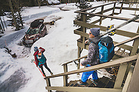 Rob Aseltine and Mali Noyes head out for a day of skiing, Brighton, Utah.