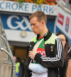 Mayo Donal Vaughan with his arm in a temporary sling at the All Ireland Semi-final between Mayo and Dublin on sunday last.<br /> Pic Conor McKeown