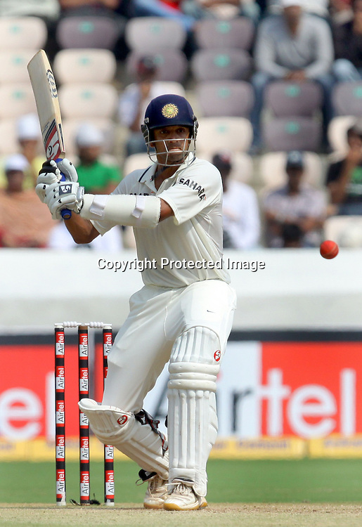 Indian batsman Rahul Dravid plays shot a aganist New Zealand during the 3rd day of the 2nd test match India vs New Zealand Played at Rajiv Gandhi International Stadium, Uppal, Hyderabad 14, November 2010 (5-day match)