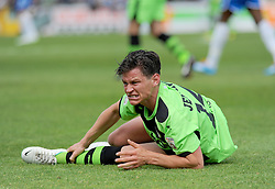 Forest Green Rovers's James Jennings is brought to the ground. - Photo mandatory by-line: Nizaam Jones /JMP - Mobile: 07966 386802 - 03/05/2015 - SPORT - Football - Bristol - Memorial Stadium - Bristol Rovers v Forest Green Rovers - Vanarama Football Conference.