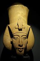 Egypte, la côte méditerranéenne, Alexandrie, Musée National d'Alexndrie, Tete de Akhenaten. // Egypt, Alexandria, National museum. Head of Akhenaten.
