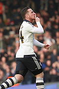 Fulham Striker, Ross McCormack (44) celebrating scoring opening goal 1-0 during the Sky Bet Championship match between Fulham and Bristol City at Craven Cottage, London, England on 12 March 2016. Photo by Matthew Redman.