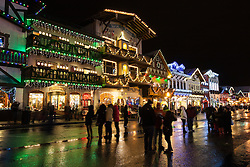 Bavarian shops decorated for Christmas during the Christmas Lights Festival, Leavenworth, Washington, United States of America