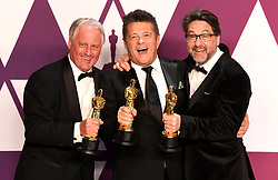 "Paul Massey, Tim Cavagin and John Casali, winners of the Best Sound Mixing Awards for ""Bohemian RhapsodyÓ at the 91st Annual Academy Awards (Oscars) presented by the Academy of Motion Picture Arts and Sciences.<br /> (Hollywood, CA, USA)"