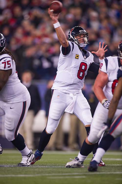 FOXBORO, MA - JANUARY 13:  Quarterback Matt Schaub #8 of the Houston Texans passes during the AFC Divisional Playoff against the New England Patriots at Gillette Stadium on January 13, 2013 in Foxboro, Massachusetts.(Photo by Rob Tringali) *** Local Caption *** Matt Schaub