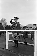 08/02/1963<br /> 02/08/1963<br /> 08 February 1963<br /> Colonel Joseph P. McNally retires from O.C. Eastern Command. Colonel McNally, O.C. Eastern Command took the salute for his last time at a march past at Collins Barracks, Dublin to mark his retirement. Born in Belfast he joined the Army in 1923 as Captain after service with the 3rd Northern Division during the War of Independence. He rose to the rank of Colonel in 1958 and became O.C. in 1961. Col. McNally Lived at Frankfort Lodge, Inchicore Road Dublin and was married with four children. One of his sons, Captain Pat McNally was in the Army Signal Corps. Photo shows: Col. McNally taking the salute, just behind are  Col. J. Neylon, (O.C. Army Equitation School) and Col. Mortimer Buckley, (O.C. 6th Brigade).