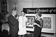 "28/06/1967<br /> 06/28/1967<br /> 28 June 1967<br /> Presentation of prizes at Navan Carpets ""Young Designer of the Year"" reception in the Royal Hibernian Hotel, Dublin. Image shows Ms Linda Willis (20) a College of Art student from Dun Laoghaire, who was named Ireland's ""Young Designer of the Year"". Linda, who was born in Venice, received her prize with the other award winners at the reception. Left -right are:  Mr. Allan Mallinson, Managing Director, Navan Carpets Ltd.; Miss Willis and Miss V. Sheridan, Navan Carpets Ltd. standing in front of Linda's design."