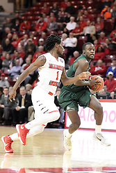 05 December 2015:  Hakeem Baxter looks for the paint pursued by Paris Lee(1). Illinois State Redbirds host the University of Alabama - Birmingham Blazers at Redbird Arena in Normal Illinois (Photo by Alan Look)