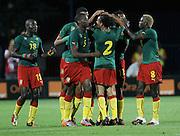 SZCZECIN 11/08/2010.FOOTBALL INTERNATIONAL FRIENDLY.POLAND v CAMEROON.Cameroon's players celebrate their goal ..Fot: Piotr Hawalej / WROFOTO