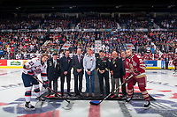 REGINA, SK - MAY 27:  Ceremonial puck drop at the Brandt Centre on May 27, 2018 in Regina, Canada. (Photo by Marissa Baecker/CHL Images)