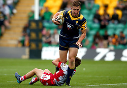 Huw Taylor of Worcester Warriors is tackled - Mandatory by-line: Robbie Stephenson/JMP - 29/07/2017 - RUGBY - Franklin's Gardens - Northampton, England - Worcester Warriors v Gloucester Rugby - Singha Premiership Rugby 7s