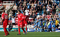 Photo: Marc Atkins.<br /> Rushden & Diamonds v Wycombe Wanderers. Coca Cola League 2. 22/04/2006. Wycombe players celebrate Roger Johnson's goal.