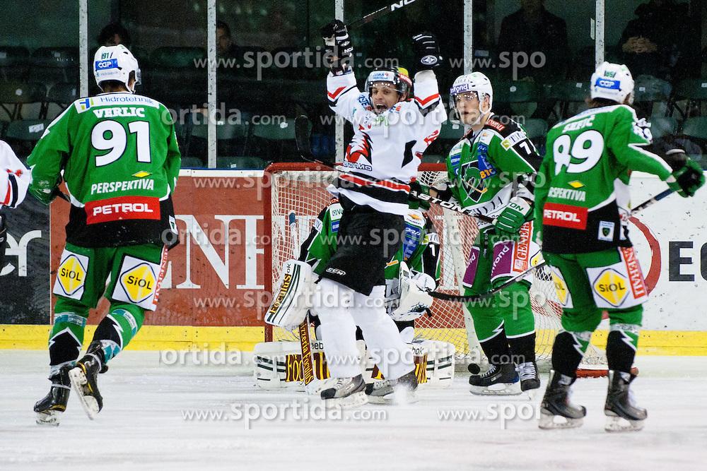 Team Znojmo Orli (Jiri Beroun) scored first goal during ice-hockey match between HDD Tilia Olimpija and HC Znojmo Orli in 24th Round of EBEL league, on November 22, 2011 at Hala Tivoli, Ljubljana, Slovenia. (Photo By Matic Klansek Velej / Sportida)