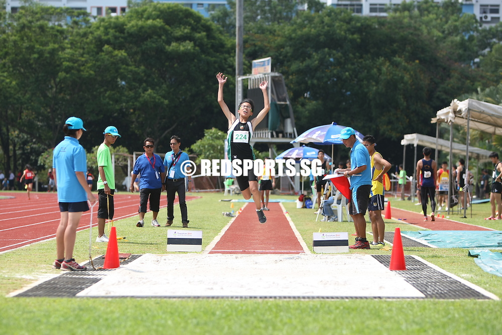 Choa Chu Kang Stadium, Friday, April 5, 2013 &mdash; Adlan Syaddad Bin Mohamad Yani of the Singapore Sports School won the C Division boys&rsquo; long jump at the 54th National Schools Track and Field Championships.<br /> <br /> Story: http://www.redsports.sg/2013/04/09/c-boys-long-jump-adlan-syaddad-sports-school/