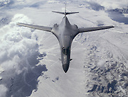 B-1B Lancer from the 37th Bomb Squadron, Ellsworth Air Force Base, S.D. over the Nevada and Utah region of the United States. As seen, Major Derick Bissinger (right) and Capt Aaron Juhl (left) are at the flight controls as they approach a KC-10 Extender (not seen) of the 379th Air Refueling Wing (reserve), Travis Air Force Base, CA.  (U.S. Air Force photo by Master Sgt. Lance Cheung)