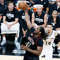 01 May 2017: Houston Rockets center Nene Hilario (42) grabs a rebound during the Houston Rockets 126-99 victory over the San Antonio Spurs, in game 1 of the Western Conference Semi Finals, at the AT&T Center, San Antonio, Texas, USA.
