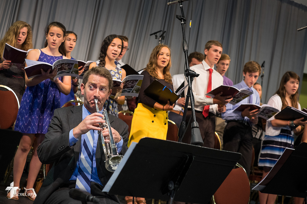 Choir members and musicians perform during the 66th Regular Convention of The Lutheran Church–Missouri Synod on Sunday, July 10, 2016, at the Wisconsin Center in Milwaukee. LCMS/Michael Schuermann