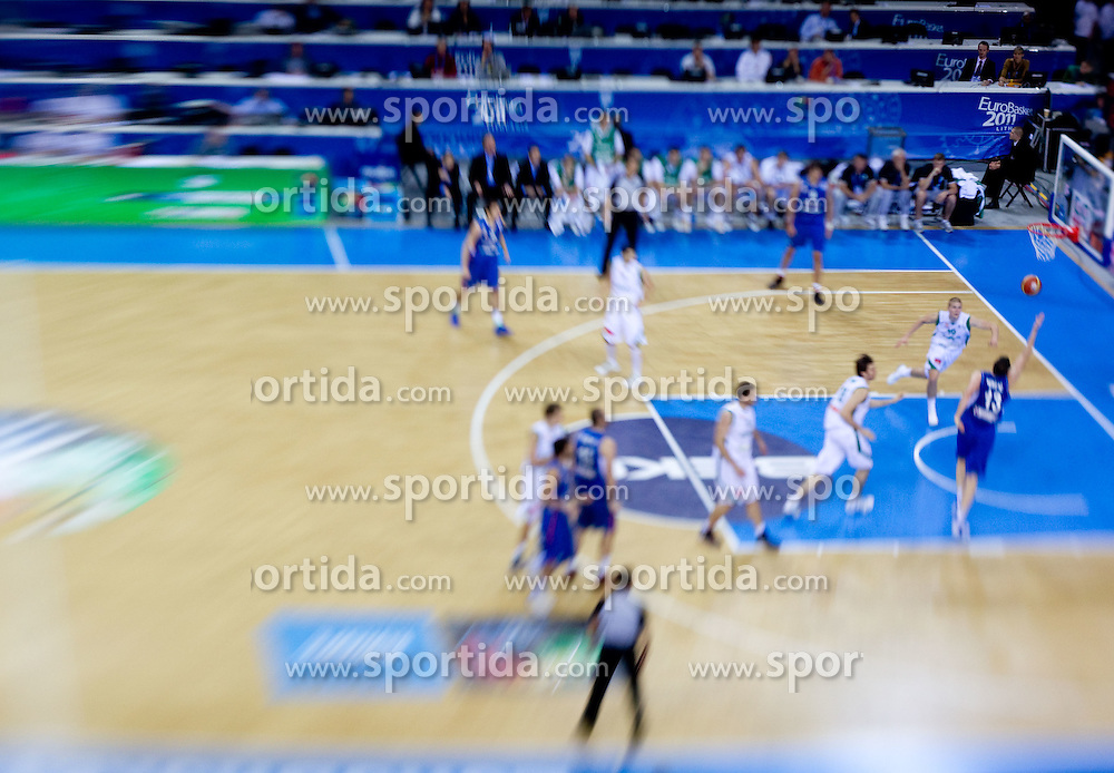Players during basketball game between National basketball teams of Slovenia and Serbia in 7th place game of FIBA Europe Eurobasket Lithuania 2011, on September 17, 2011, in Arena Zalgirio, Kaunas, Lithuania. (Photo by Vid Ponikvar / Sportida)