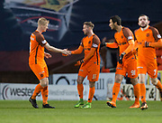 10th April 2018, Tannadice Park, Dundee, Scotland; Scottish Championship football, Dundee United versus St Mirren; Billy King of Dundee United is congratulated after scoring by Thomas Mikkelsen after scoring