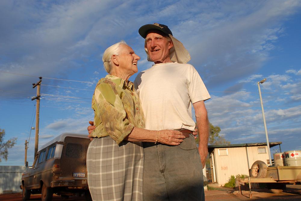 Residents of Laverton Caravan Park Flo & Kris McDade, propsectors. September 10 2006.