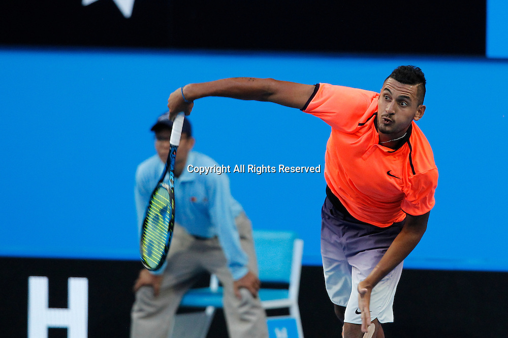 03.01.2017. Perth Arena, Perth, Australia. Mastercard Hopman Cup International Tennis tournament. Nick Kyrgios (AUS) serves during his game against Adam Pavlasek (CZE). Kyrgios won 7-5, 6-4.