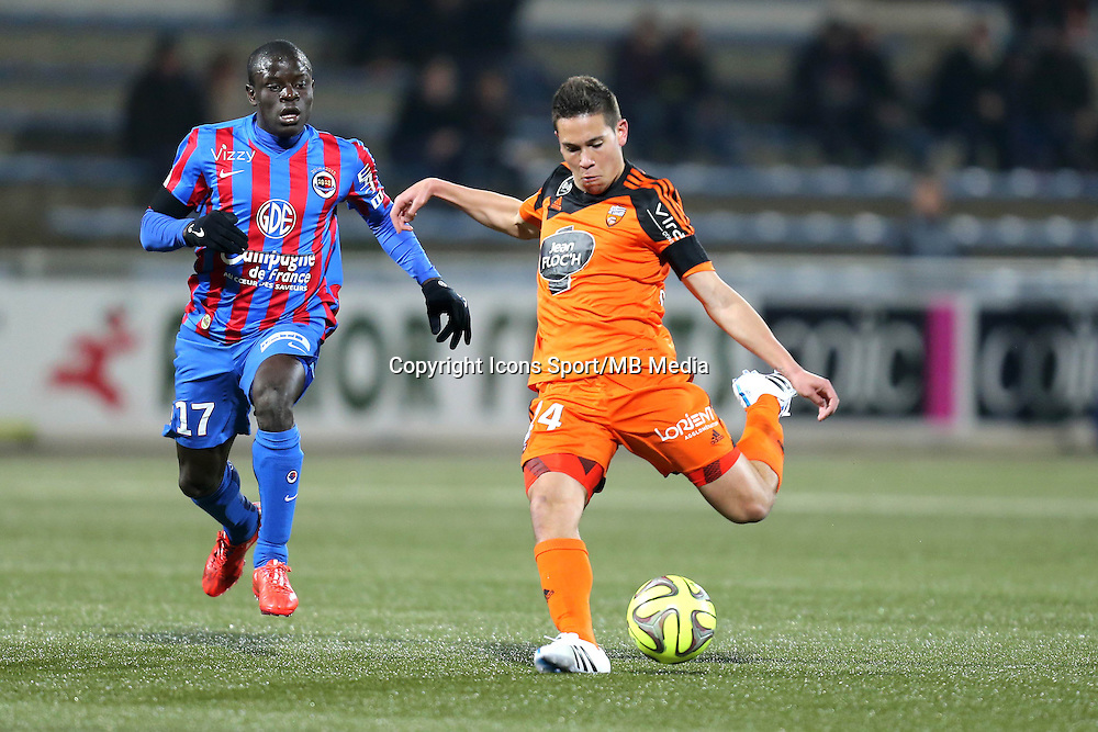 Raphael GUERREIRO / Ngolo KANTE - 14.03.2015 - Lorient / Caen - 29eme journee de Ligue 1<br /> Photo : Vincent Michel / Icon Sport
