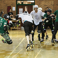 "Manchester Roller Derby's ""New Wheeled Order"" take on an All Star ""Boy Division"" 2014-11-22"