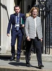 © Licensed to London News Pictures. 25/05/2017. London, UK. Home secretary AMBER RUDD leaves 10 Downing Street in Westminster, London following a COBRA meeting to discuss a terrorist attack in Manchester, northern England, earlier this week. 23 people were killed an dozens more injured when Salman Abedi set off a suicide bomb at an Ariana Grande concert.  Photo credit: Ben Cawthra/LNP
