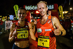 Mitja Krevs and Sonja Roman winners of 12th Nocna 10ka 2018, traditional running around Bled's lake, on July 14, 2018 in Bled, Slovenia. Photo by Grega Valancic / Sportida