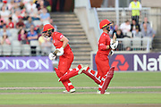 Lancashires Alex Davies & Lancashires Steven Croft running between the wickets during the Vitality T20 Blast North Group match between Lancashire Lightning and Leicestershire Foxes at the Emirates, Old Trafford, Manchester, United Kingdom on 3 August 2018. Picture by George Franks.
