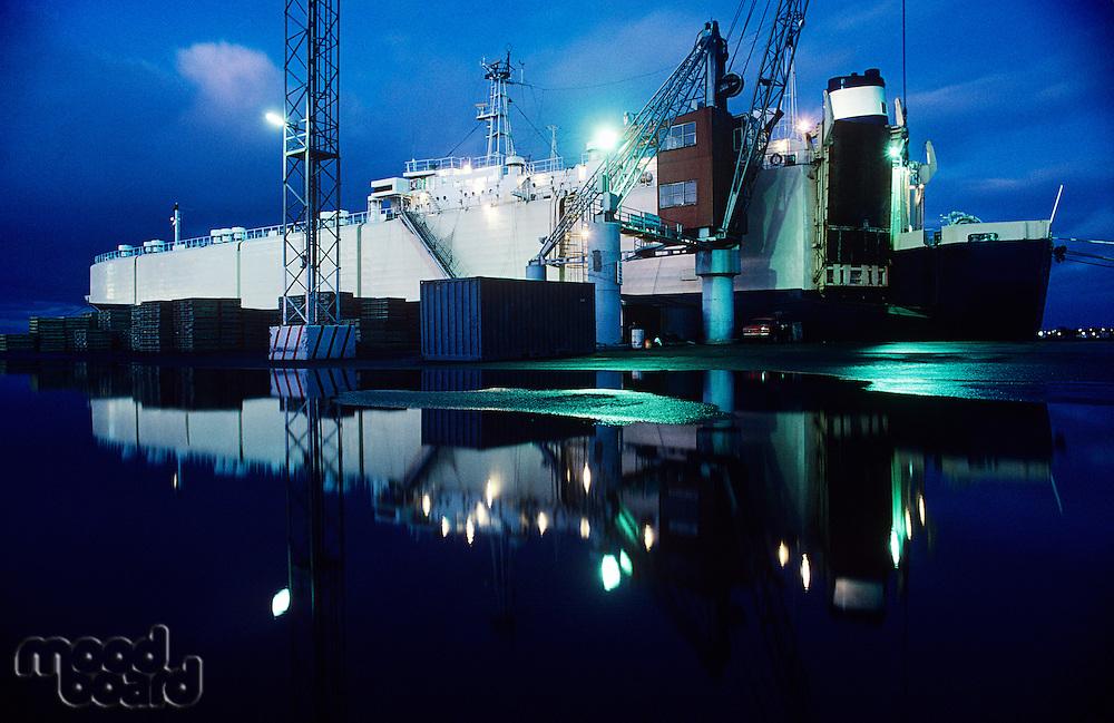 Car-carrying ship in dock Melbourne Australia