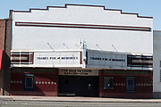 """""""Thanks for the memories"""" on the marquee of the closed Colusa Theatre in Colusa, California."""
