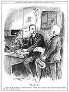 Mr Punch thanking Marconi for wireless telegraphy which was saving lives at sea. Leonard Raven-Hill cartoon from 'Punch', London, 22 October 1913