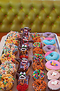 "Voodoo Doughnut, Too! located in NE Portland, Oregon features unusual doughnuts and is owned by Tres Shannon and Kenneth ""Cat Daddy"" Pogson.  A field of doughnuts: The Loop (fruit loops on top), Captain My Captain (captain crunch topping), Marshall Mathers (m&m topping, aka EMINEM), Grape Ape (purple), Miami Viceberry (hot pink with blue),  Double Bubble (with gum on top), Neopolitan (chocolate cake doughnut with pink strawberry dust and marshmallows), plain cake with orange and brown sprinkles"