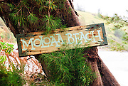 Moloa'a Beach on Kauai is marked with a sign.