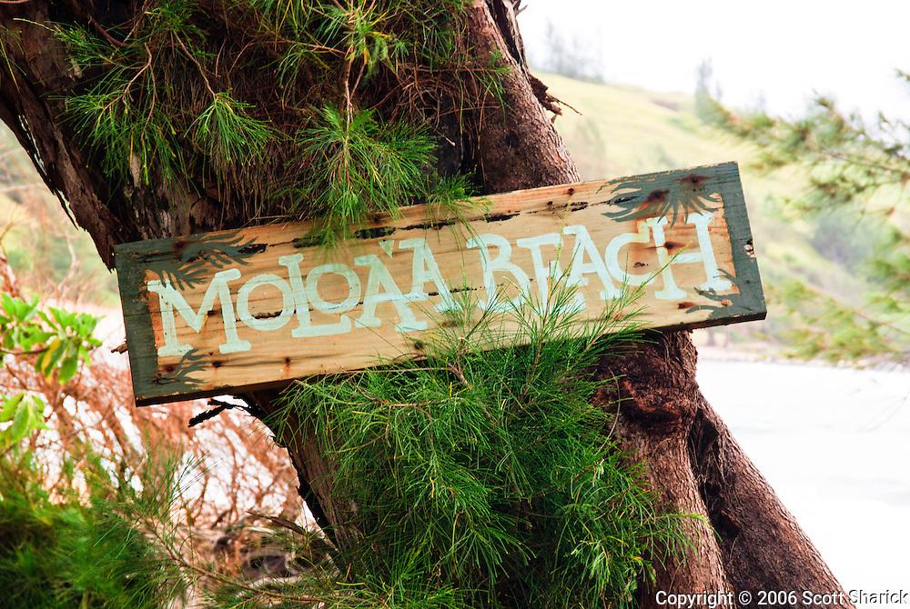Moloa'a Beach on Kauai is marked with a sign.