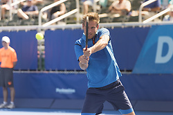 February 21, 2018 - Delray Beach, FL, United States - Delray Beach, FL - February 21: Peter Gojowczyk (GER) takes first set 76(3) against John Isner (USA) at the 2018 Delray Beach Open held at the Delray Beach Tennis Center in Delray Beach, Florida.   Credit: Andrew Patron/Zuma Wire (Credit Image: © Andrew Patron via ZUMA Wire)