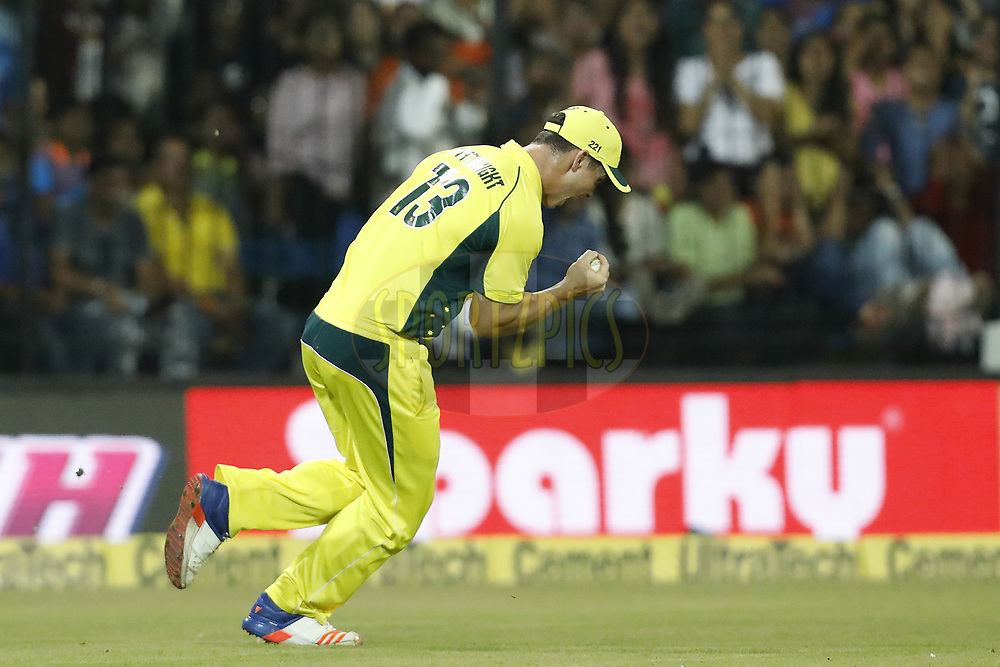 Hilton Cartwright of Australia takes the catch of Rohit Sharma of India during the 3rd One Day International between India and Australia held at the Holkar Stadium in Indore on the 24th  September 2017<br /> <br /> Photo by Arjun Singh / BCCI / SPORTZPICS