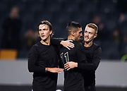 SOLNA, SWEDEN - MARCH 13: Stefan Silva of AIK celebrates after scoring to 2-0 together with Kristoffer Olsson and Rasmus Lindkvist of AIK during the Swedish Cup Quarterfinal between AIK and Orebro SK at Friends arena on March 13, 2018 in Solna, Sweden. Photo by Nils Petter Nilsson/Ombrello<br /> ***BETALBILD***