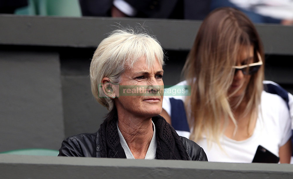 Judy Murray in the players box of centre court on day nine of the Wimbledon Championships at The All England Lawn Tennis and Croquet Club, Wimbledon.