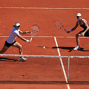 Sam Stosur and Rennae Stubbs, Australia, in action during the Women's doubles match against Zi Yan and Jie Zheng of China at the French Open Tennis Tournament at Roland Garros, Paris, France on Sunday, May 31, 2009. Photo Tim Clayton.